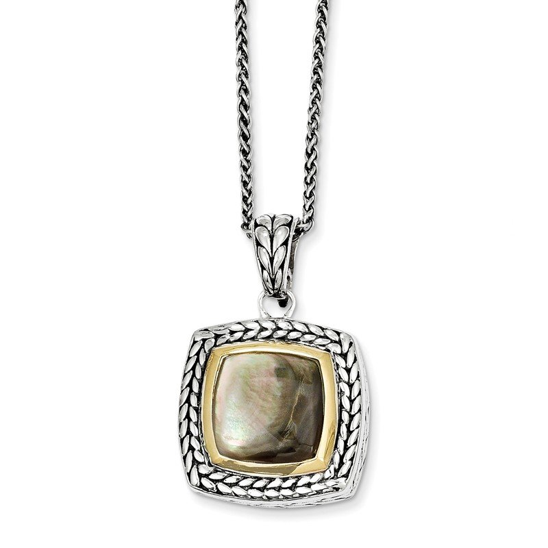 Shey Couture Sterling Silver w/14k Black Mother of Pearl 18in Necklace