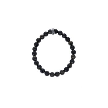 8Mm Black Obsidian Plain Beaded Bracelet W/ Logo Ring
