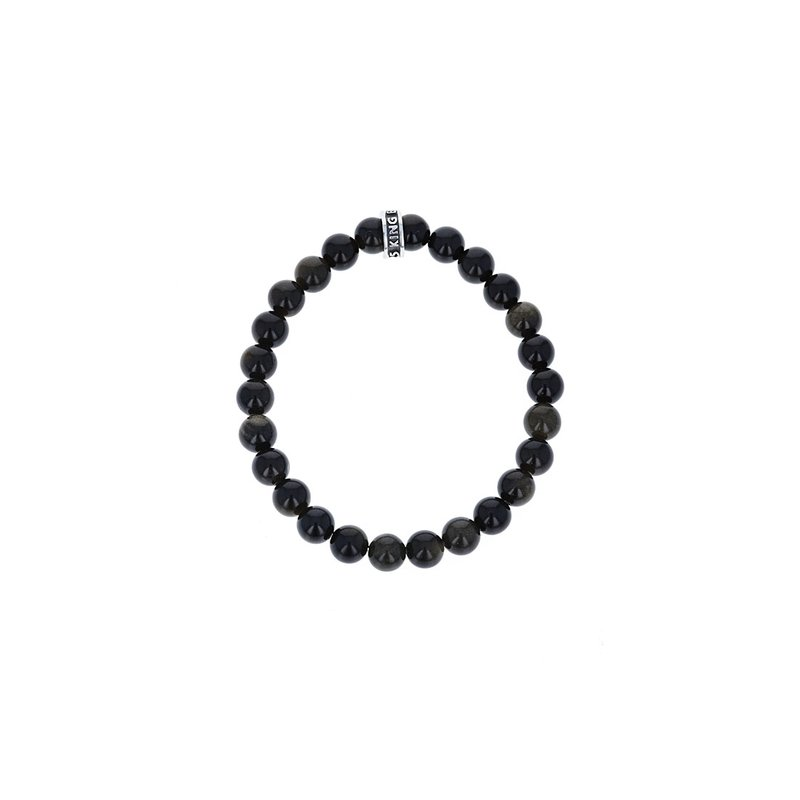 King Baby 8Mm Black Obsidian Plain Beaded Bracelet W/ Logo Ring