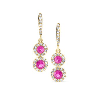 Pink Sapphire & Diamond Earrings Set in 14 Kt. Gold