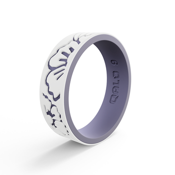 Women's Strata White & Lilac Hibiscus Silicone Ring