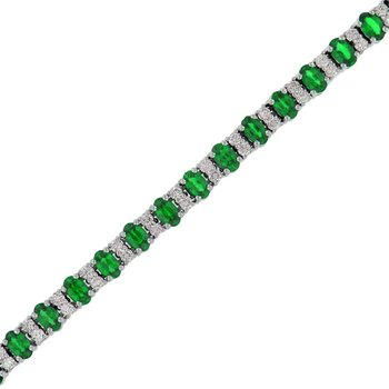Prong Set Emerald & Diamond Bracelet