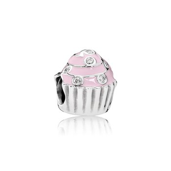 Sweet Cupcake Charm, Light Pink Enamel Clear Cz