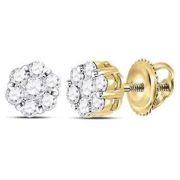 14kt Yellow Gold Womens Round Diamond Flower Cluster Earrings 1/2 Cttw