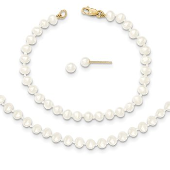 14k 3-4mm FW Cultured Pearl 14in Necklace, 5in. Bracelet & Earring Set