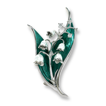 Sterling Silver Lily of the Valley Brooch-Green. Diamonds.