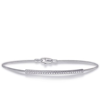 White Gold Bangle Italian Made Flexible