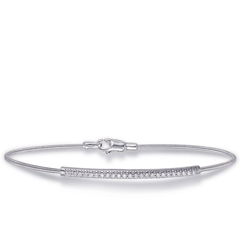S. Kashi  & Sons White Gold Bangle Italian Made Flexible