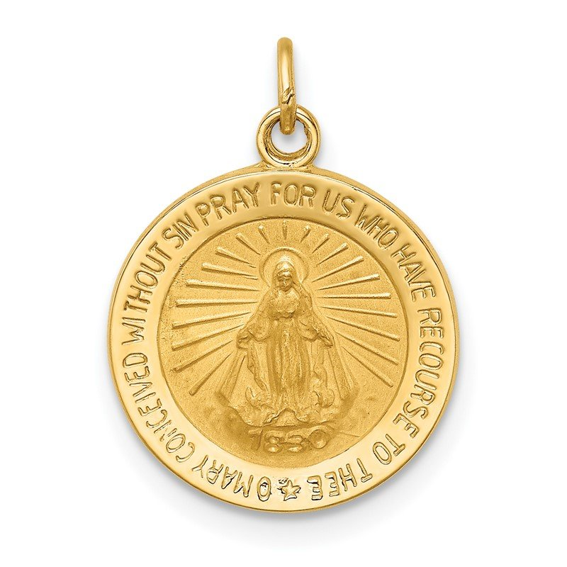 Quality Gold 14k Solid Polished/Satin Round Miraculous Medal