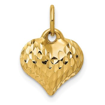 14K Polished and Textured 3-D Heart Pendant
