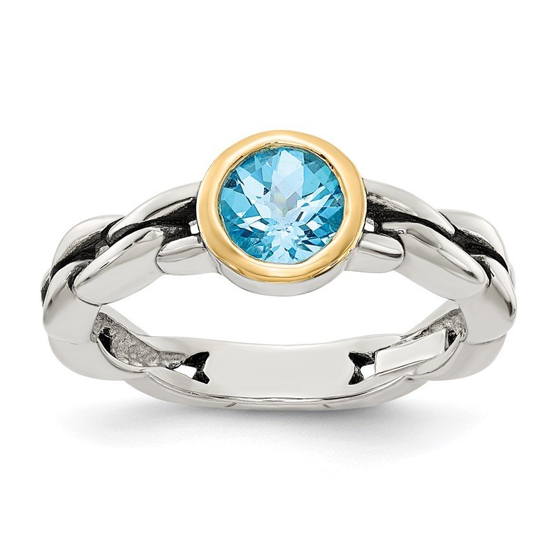 Quality Gold Sterling Silver w/14k Sky Blue Topaz Ring