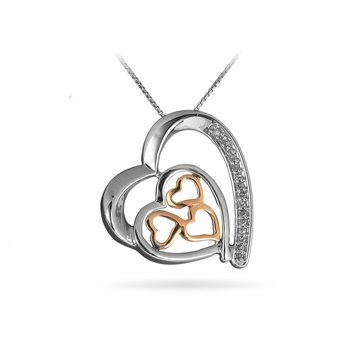 925 SS and 10K RG Diamond Heart Slider Pendant