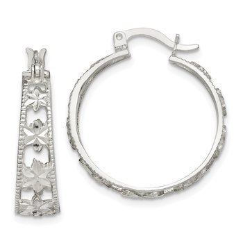 Sterling Silver Diamond-cut Flower Hoop Earrings