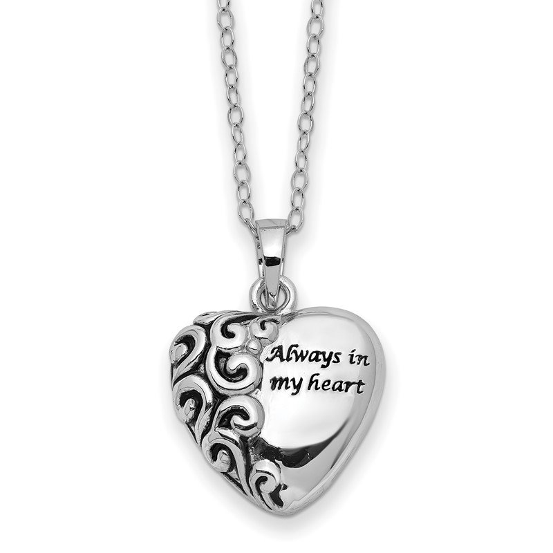 JC Sipe Essentials Sterling Silver Antiqued Heart Remembrance Ash Holder 18in Necklace