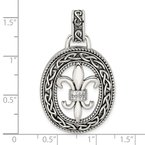 Quality Gold Sterling Silver CZ Antiqued Filigree Fleur de Lis Pendant