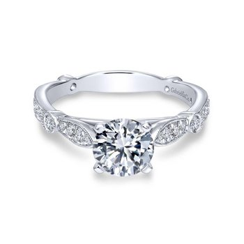 14k White Gold Diamond Straight Victorian Engagement Ring