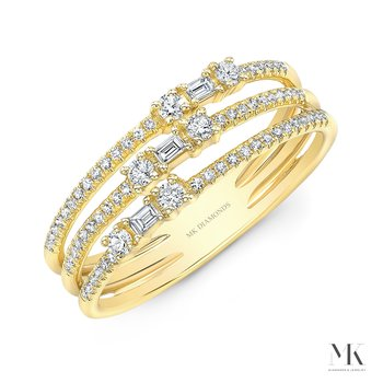 Yellow Gold Three Row Baguette Ring