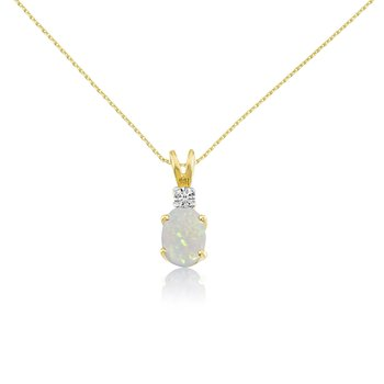 14k Yellow Oval Opal and Diamond Pendant
