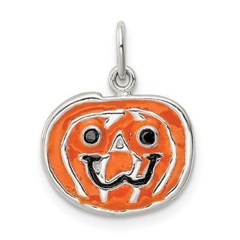 Sterling Silver Polished Enamel Pumpkin Pendant
