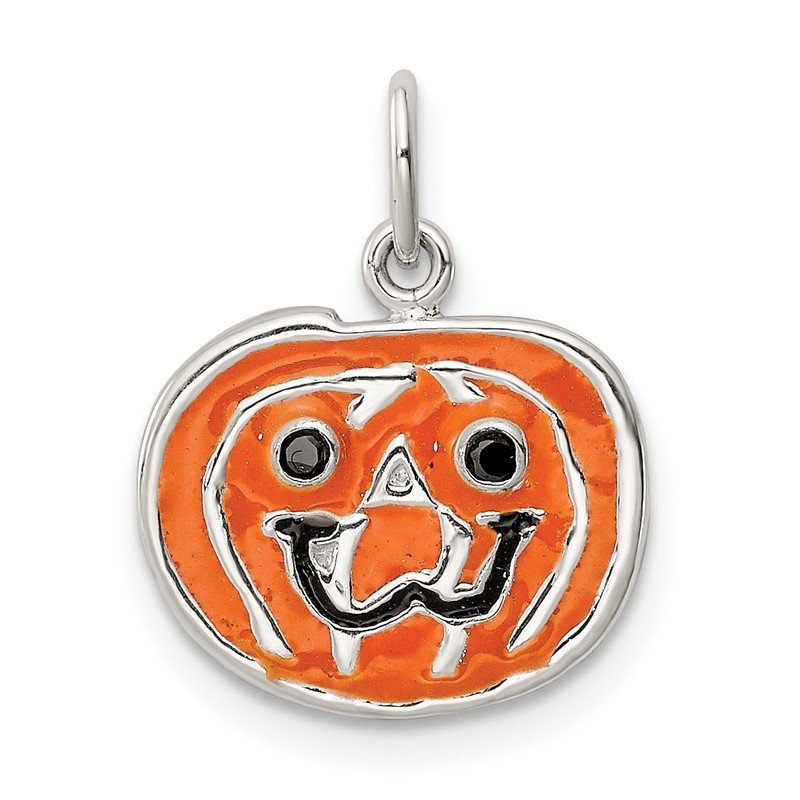 Quality Gold Sterling Silver Polished Enamel Pumpkin Pendant