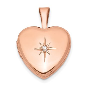Sterling Silver Rose Gold-plated & Diamond Polished 12mm Heart Locket