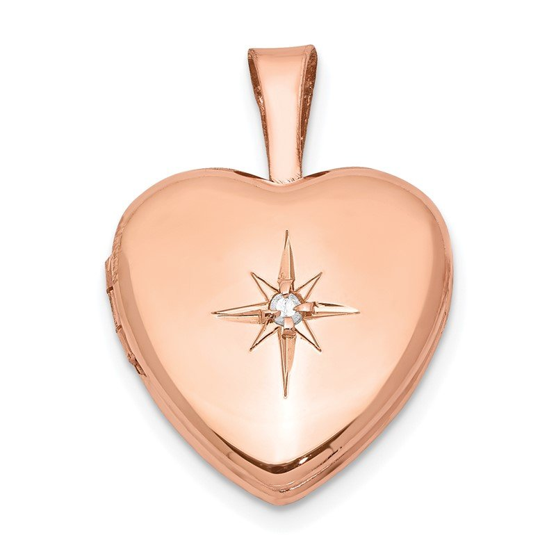 Quality Gold Sterling Silver Rose Gold-plated & Diamond Polished 12mm Heart Locket