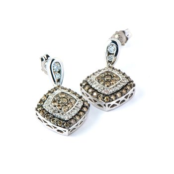 14K WG White & Champagne Diamond Earring