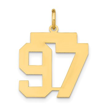 14k Medium Polished Number 97 Charm