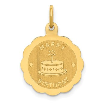 14K Polished Satin Engraveable HAPPY BIRTHDAY Charm