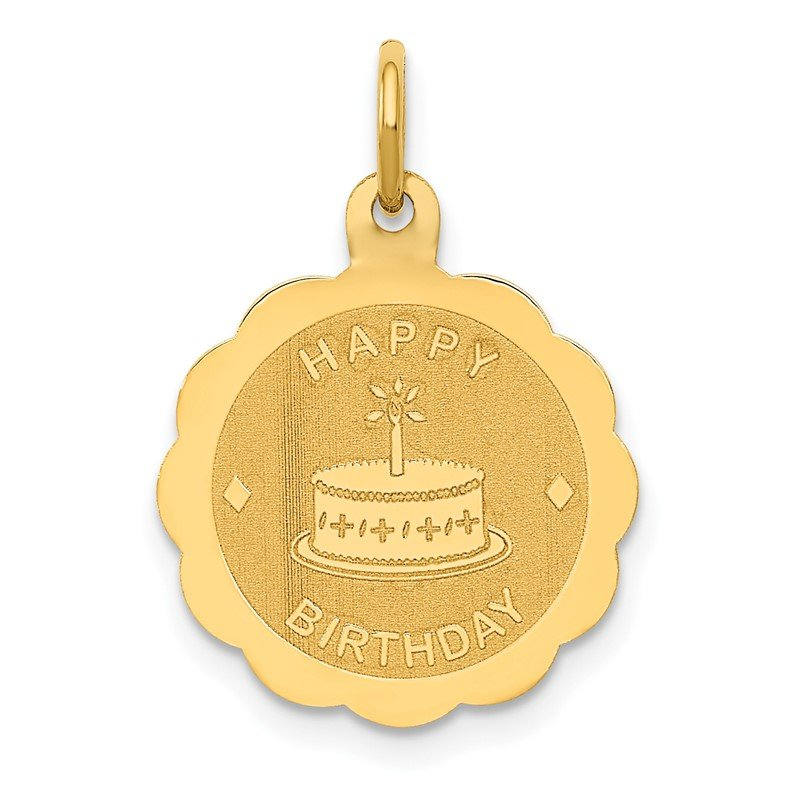 Quality Gold 14K Polished Satin Engraveable HAPPY BIRTHDAY Charm
