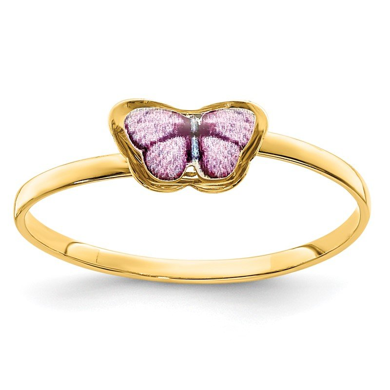 Quality Gold 14K Enamel Butterfly Children's Ring