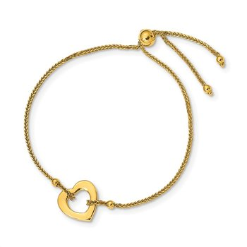 14K Heart Adjustable Bracelet
