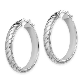 Sterling Silver Rhodium-plated 5x25mm Polished Textured Hoops