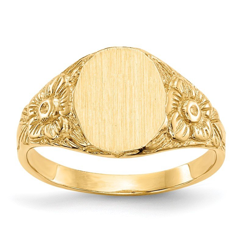 Quality Gold 14k 10.0x8.0mm Closed Back Signet Ring