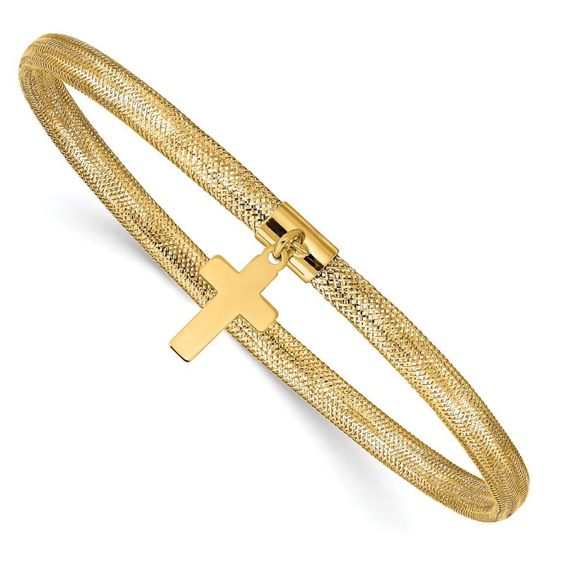 Quality Gold 14K Mesh Cross Dangle Stretch Bracelet