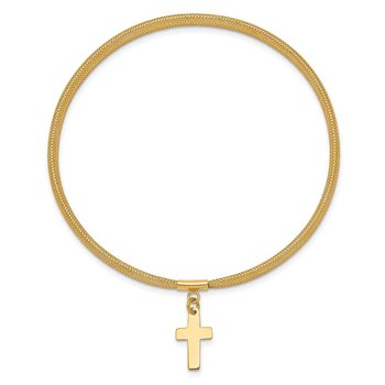 14K Mesh Cross Dangle Stretch Bracelet