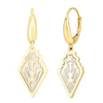 14K Gold Art Deco MOP Inlay Earrings