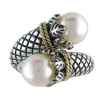 18kt and Sterling Silver Overlapping Design White Pearl Textured Ring