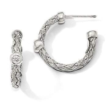 Leslie's Sterling Silver Polished Woven CZ Hoop Earrings