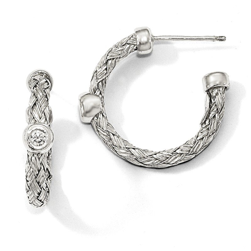 Leslie's Leslie's Sterling Silver Polished Woven CZ Hoop Earrings