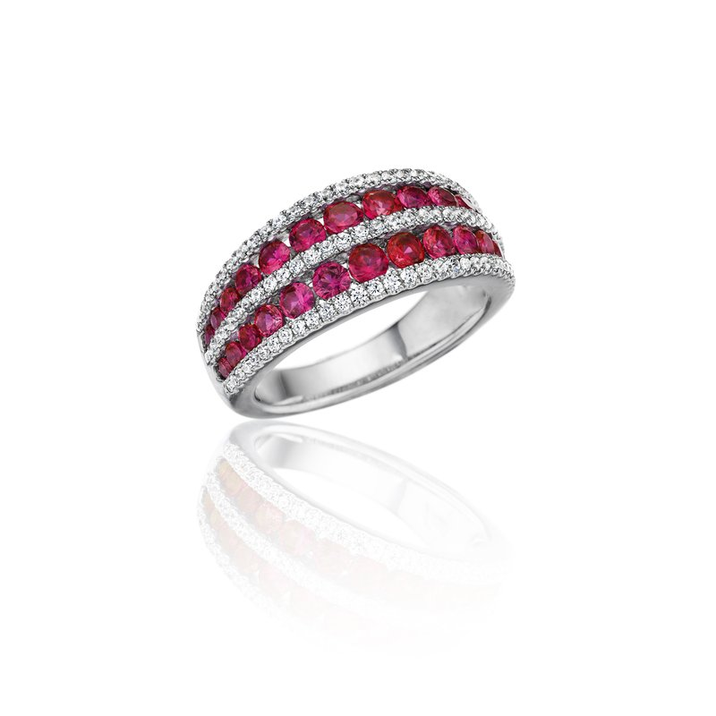 Chasing Bliss Ruby and Diamond Stacked Row Ring