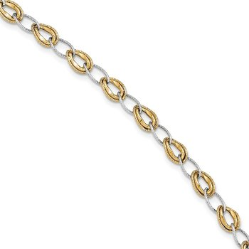 14k Two-tone D/C Polished Fancy Link Bracelet