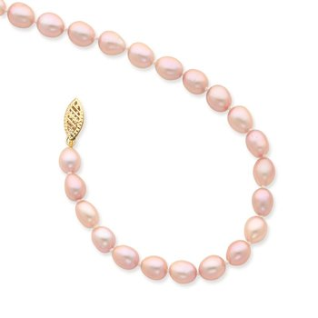 14k 6-7mm Pink Rice Freshwater Cultured Pearl Necklace