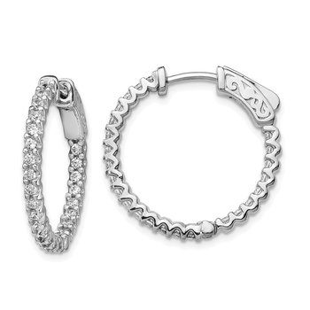 Sterling Silver Rhodium-plated CZ 48 Stone In and Out Hoop Earrings