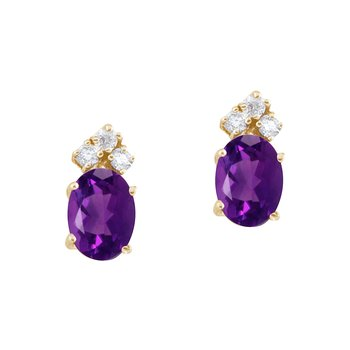 14k Yellow Gold Amethyst and Diamond Oval Earrings