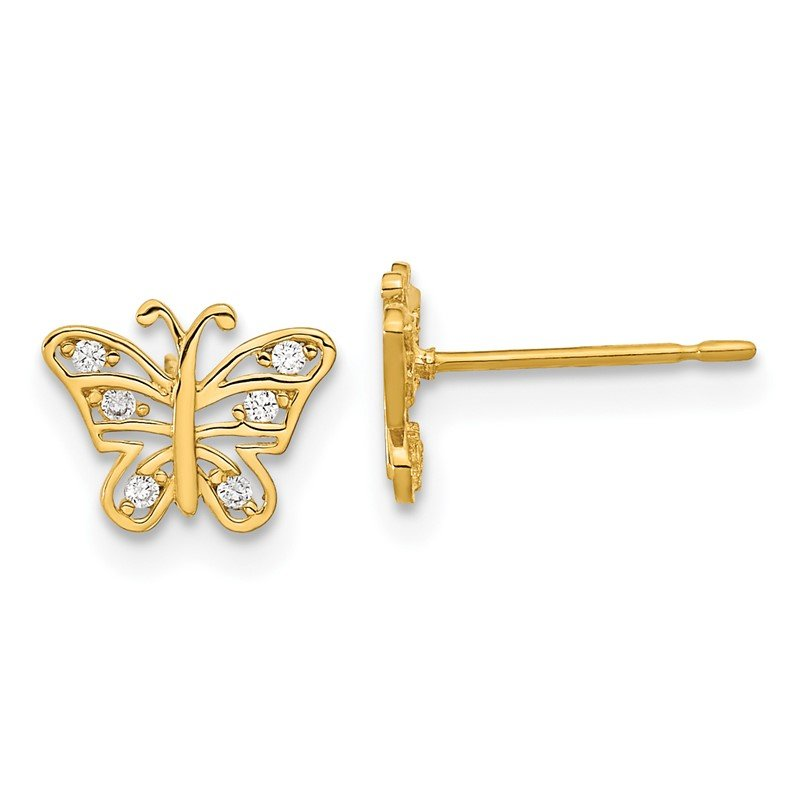 Quality Gold 14k Madi K Kids CZ Butterfly Post Earrings