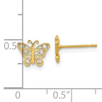 14k Madi K Kids CZ Butterfly Post Earrings