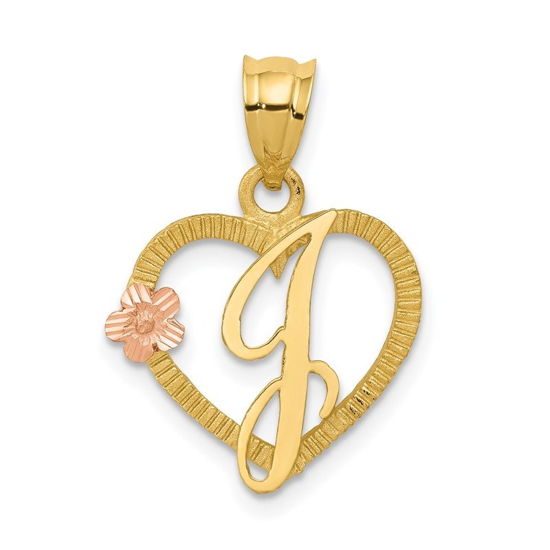 Quality Gold 14k Two-Tone Heart Letter J Initial Pendant