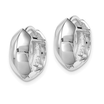 Sterling Silver Rhodium-plated Knife Edge Hinged Hoop Earrings