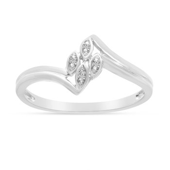 14K White Gold Diamond Leaf Ring